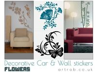 Decorative Wall Stickers - ART Flowers 30x30cm - 21 patterns, 33 colours
