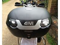 Givi Maxia E55 tech, 55 litre, holds x2 helmets motorcycle top box luggage