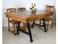 5ft reclaimed pine solid wood & Industrial A-frame metal dining table