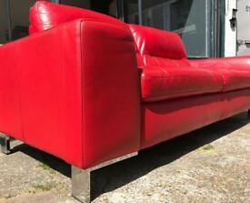 Contemporary Red Leather Sofa (3 seater)