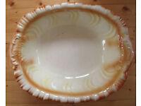 "Very B-I-G, 18"" x 14"" x 5"", vintage-look deep rectangular ceramic bowl. £8 ovno"