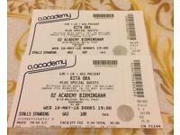 Rita ora tickets x2 Birmingham O2 academy