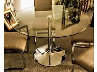 Orbit Round Glass and Chrome Dining Table