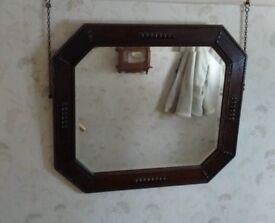 Large Vintage Wooden Wall Mirror