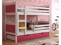 New KIDS CHILDREN TODDLER {}JUNIOR BUNK BED WITH MATTRESS AND DRAWERS 190 x 85