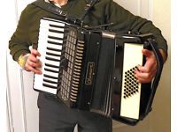 ACCORDION - Black CHANSON 48 Student Piano Accordion, in carrying case, hardly played (NW LONDON)