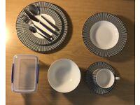 FULL UNI CROCKERY SET - M&S Hampton Fine China Dishwasher Safe and Microwaveable