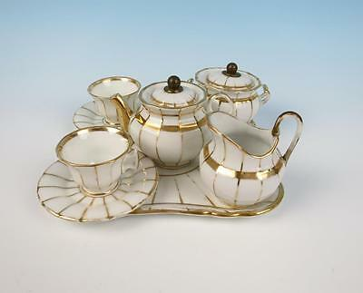 Antique Paris Porcelain Child's Tea Cabaret Set French Empire Vieux Cup & Saucer