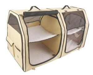New One for Pets Double Cat Show House / Portable Dog Kennel / Shelter, Cream 24H x 24D x 42L - Car Seat-belt Fixture