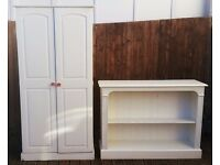 Solid pine wardrobe and bookcase