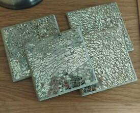 Gold cracked effect coasters