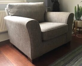Rarely used Next grey fabric armchair