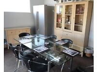 Dining table (glass), chairs, chest & display unit ( together or separately)