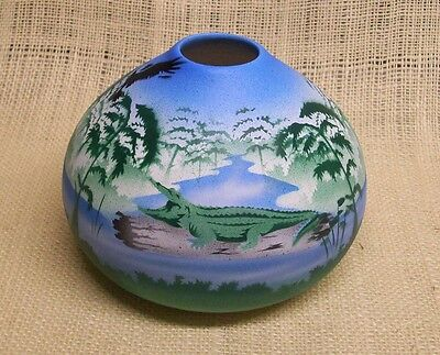 Cedar Mesa Native American Hand Made and Painted Pottery Gator Swamp Seed Bowl