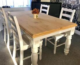 Stunning rustic shabby chic dining table and 4 chairs
