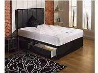 "NEW 5FT KINGSIZE DIVAN BED WITH 9"" DEEP QUILT MATTRESS, HEADBOARD, DRAWERS"