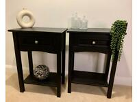 Pair of Black Bedside Tables, Console Tables, Hall Tables. One Drawer, Lower Shelf.