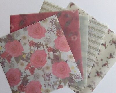 """Docrafts Papermania POCKET FULL OF POSIES ~ 6x6"""" Vellum Pack (10pk)"""