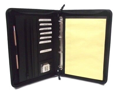 Black Real Leather A4 Folder Portfolio Option To Personalise H0100 4 Ring Binder