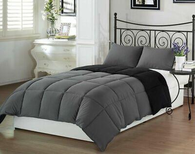 Super Soft 2pcs Gray Black Reversible Down Alternative Comforter Set Twin Size Black Down Alternative Comforter