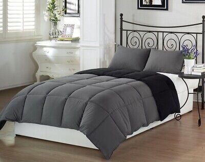 3pcs Super Soft Reversible Down Alternative Comforter Set Queen Size, Gray Black Black Down Alternative Comforter