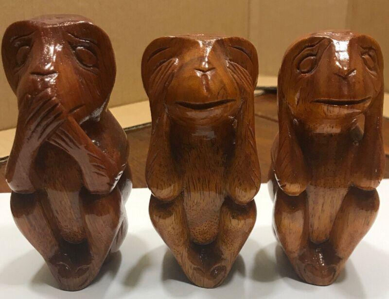 Hear, See and Speak No Evil Wood Monkeys (278-19)