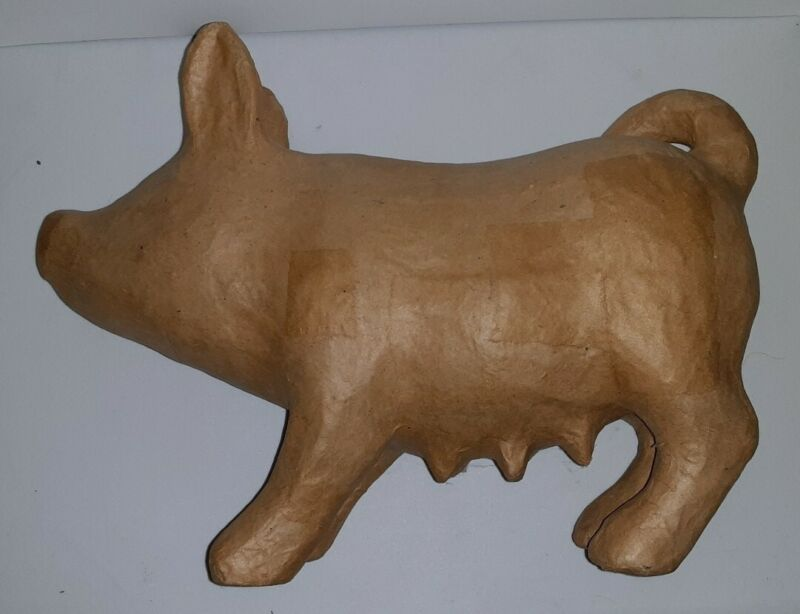 Brown Paper Mache Craft Project Unfinished Bare Pig Sow 12.5 Inches Long