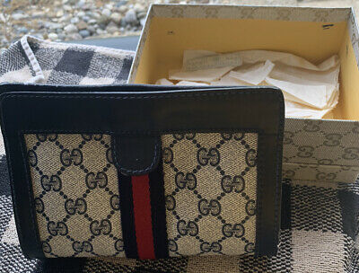 Gucci Old Gucci Sherry Line Clutch Bag With Velcro Closure Navy Blue Vintage