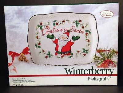 - Winterberry Pfaltzgraff Christmas Cookie Plate I Believe In Santa Holly NEW