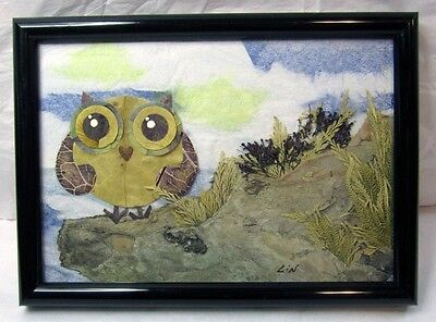 Handmade Paper Piecing Art (OWL ART COLLAGE MIXED MEDIA PIECE HANDMADE PAPER NATURAL ELEMENTS LEAVES PLANTS )