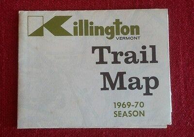 Rare Killington Mtn. Vintage Ski Trail Map 1969-70 Season, Vermont Ski Souvenir