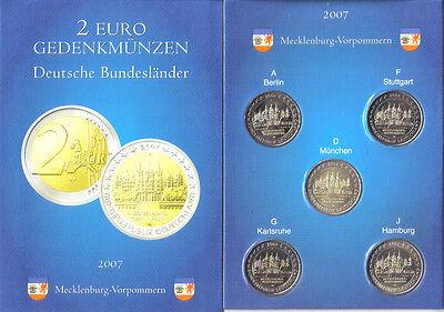 DUITSLAND 2007 - MECKLENBURG  5 x 2 Euro in POCKET - UNC