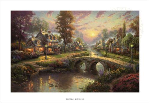 Thomas Kinkade Sunset on Lamplight Lane 24 x 36 S/N Limited Edition Paper