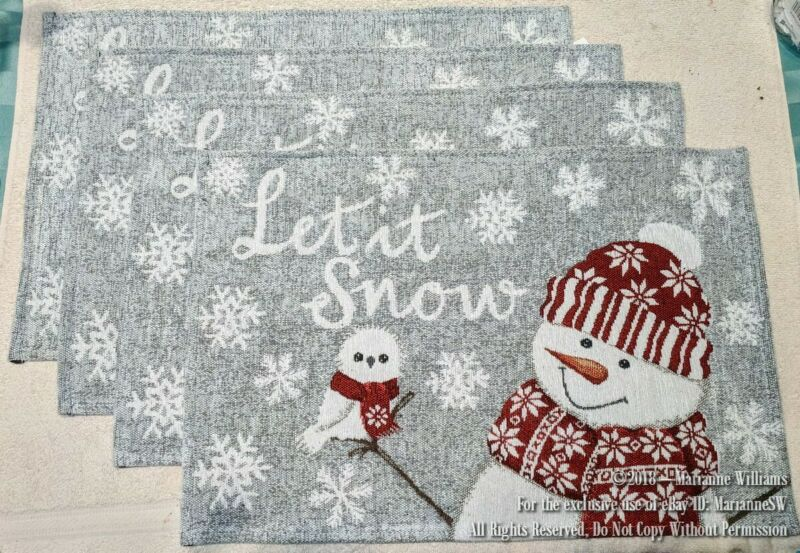 4 NEW CHRISTMAS & WINTER TAPESTRY PLACEMATS SNOWMAN & WHITE OWL LET IT SNOW