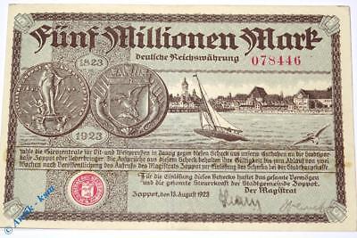 Banknote Zoppot Danzig , 5 Millionen Mark deutsche Reichswährung -> Erhaltung <-