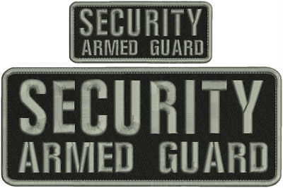 Security Armed Guard embroidery patch 4X10 and 2x5 hook all grey