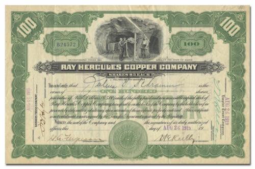 Ray Hercules Copper Company Stock Certificate