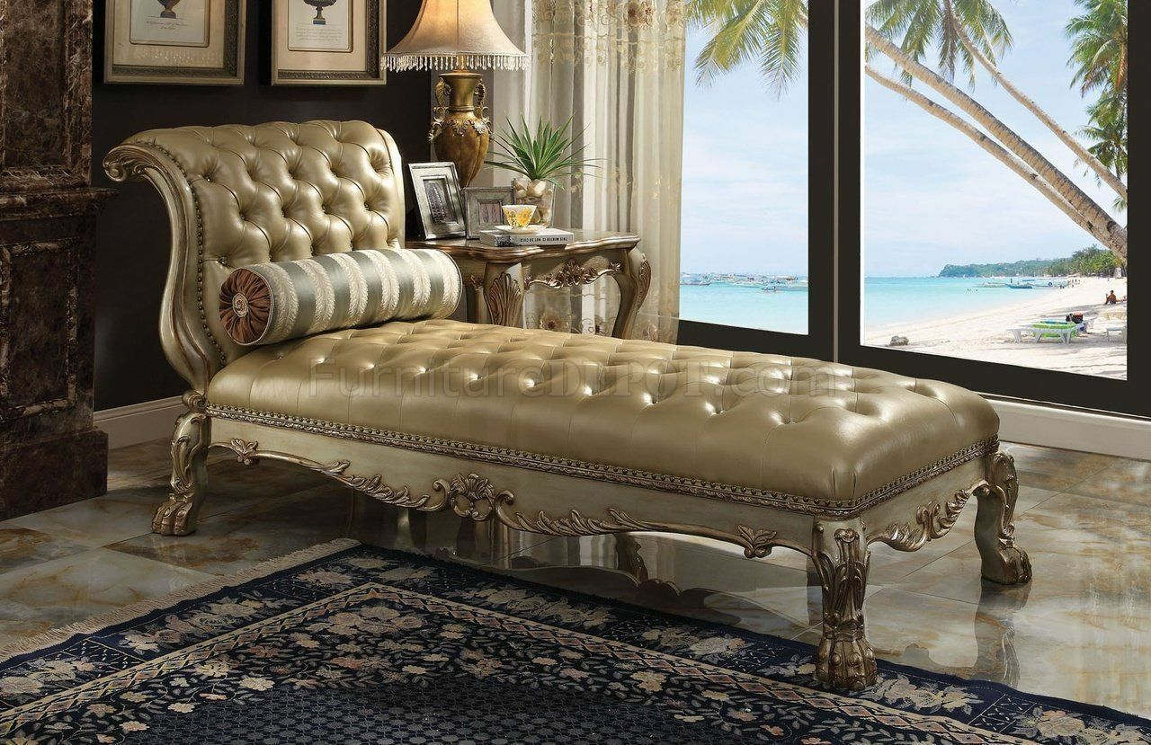 Acme Furniture Dresden Gold Patina Chaise Lounge Chair
