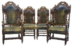 SET OF 6 +2 19TH CENTURY VICTORIAN CARVED OAK GOTHIC DINING CHAIRS