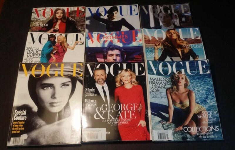 LOT OF 9 VINTAGE VOGUE PARIS FASHION HAUTE COUTURE MAGAZINES Kate Moss