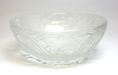 Lalique France Crystal Bowl in Pinsons Pattern; Makers Mark on Reverse Bowl In Crystal