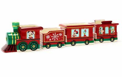 DISNEY STORE CHRISTMAS TRAIN CERAMIC SNACK BOWLS SET OF 4 MICKEY & FRIENDS BNIB