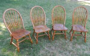 SET OF 4 HIGH BACK WOODEN DINING CHAIRS