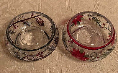 Yankee Candle Poinsettia & First Frost Crackle Glass Tea Light Candle Holders