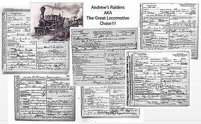 Great Locomotive Chase, 6 DEATH CERTIFICATES + PHOTO, Civil War ANDREWS RAIDERS