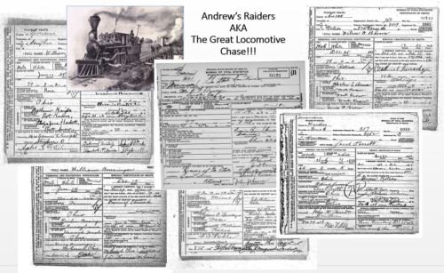 Great Locomotive Chase Photo+DEATH RECORDS Civil War ANDREWS RAIDERS The General