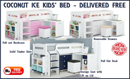 FREE DELIVERY Girls Boys Single Loft Kids Bed - Desk and Storage