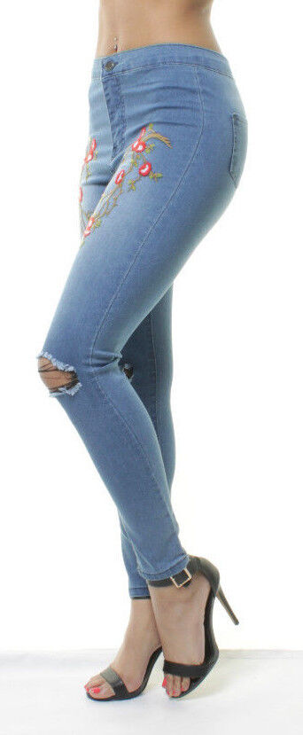 WOMENS HIGH Waisted JEANS Denim SKINNY Ripped Embroidered Long Pants 8 10 12 14