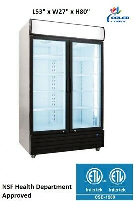 New Two Glass Door Merchandiser Display Commercial Refrigerator Cooler Nsf Etl