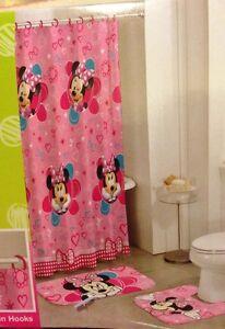 New disney minnie mouse 15 pc bathroom set girls bath shower curtain